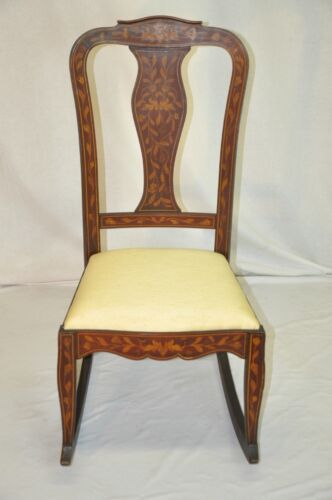 Beautiful Dutch Inlaid Marquetry Mahogany Rocking Chair, Original Finish