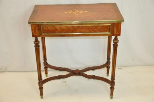 Gorgeous Louis XVI Inlaid Marquetry Side Table, Zebrawood, Walnut, Metal Drawers