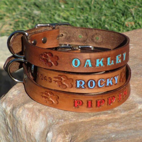 "Brown 1"" Custom Leather Dog Collar, Personalized K9 Pet Name with Paw Prints"