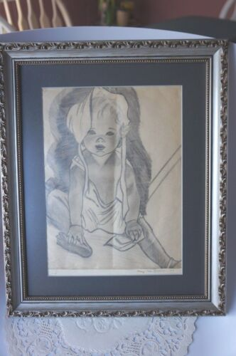 FRAMED CHARCOAL DRAWING OF INFANT: BY MARY JANE KERWIN 1935