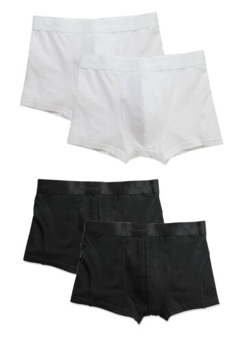 2 Pack of Stretch Cotton Mens Mans Black or White Boxers Boxer Shorts