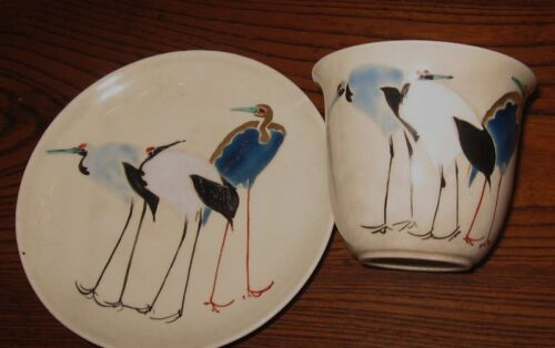 Fine Antique Japanese Satsuma Cup and Saucer w/ Cranes