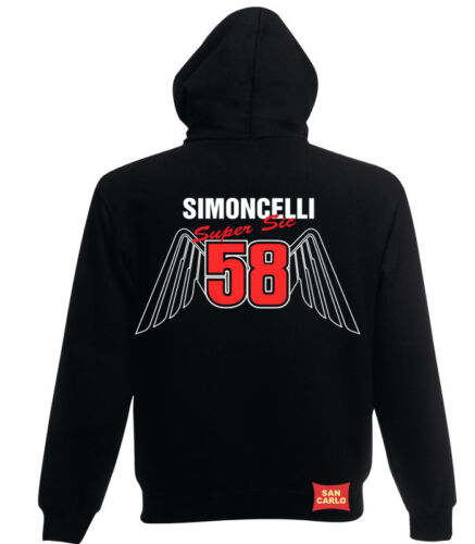 Marco Simoncelli 58 inspired `Wings` Hoodie in black Moto GP size small to xxl