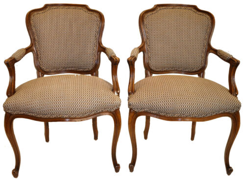 1940's Vintage Pair of Louis XV Fauteuil Chairs, Original Finish