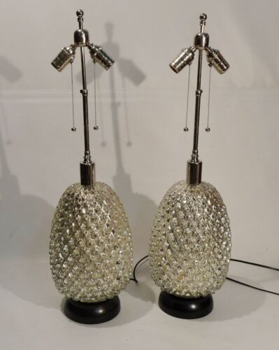 PAIR PINEAPPLE FORM MERCURY GEOMETRIC MID CENTURY RETRO TABLE LAMPS REGENCY