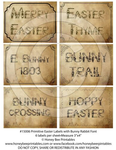 Primitive Grungy Easter Rabbit Bunny Word Labels 15006