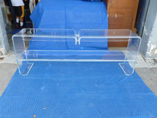 LONG  UNUSUAL ARCHITECTURAL MOD SPACE AGE 1970'S  LUCITE SOFA TABLE #1