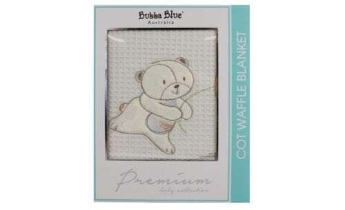 Bubba Blue Fly Away Embroidered Reversible Cotton Cot Waffle Blanket