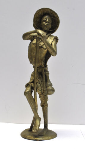 "Vintage Signed by Artist African Burkina Faso Bronze Figure 12"" Tall"