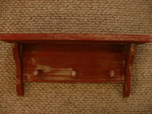 "Red Weathered Looked Peg Shelf 19"" Long Primitive (Rustic) Wood"