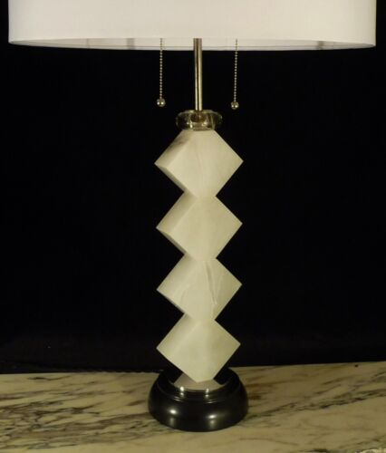 PAIR OF MID CENTURY MODERN WHITE ONYX TOTEM FORM  XL REGENCY TABLE LAMPS