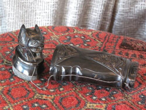 Old Javanese Carved Black Water Buffalo Horn Beetle Nut Container…