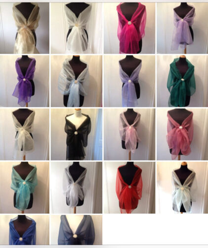 ORGANZA WRAP STOLE SHAWL WEDDING PROM CRUISE ASSORTED COL.**free swatches***