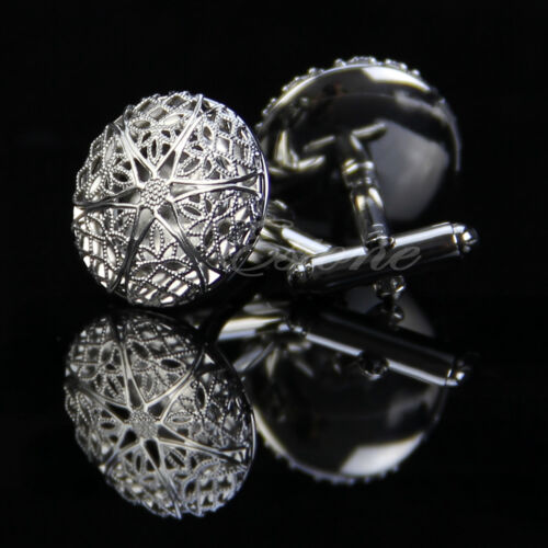 Stainless Steel Silver Vintage Men's Wedding Gift Hollow Out Pattern Cuff Links