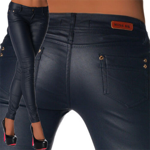 Sexy New Women's Skinny Jeans Trousers Hipsters Faux Leather Look  L 105 <br/> *****!!!! PLEASE BE MEASURED BEFORE PURCHASING !!!!****