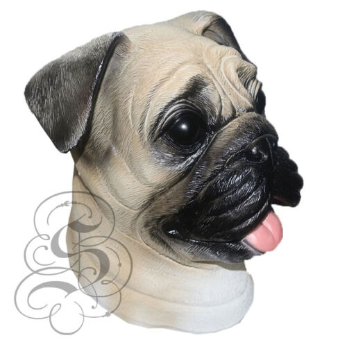 Latex Full Head Realistic House Pet Pug Dog Fancy Dress Up Party Carnival Mask