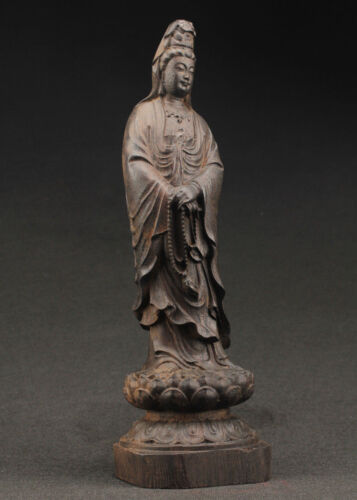 China's large decorative manual old ebony wood carving of the statue of kuan Yin