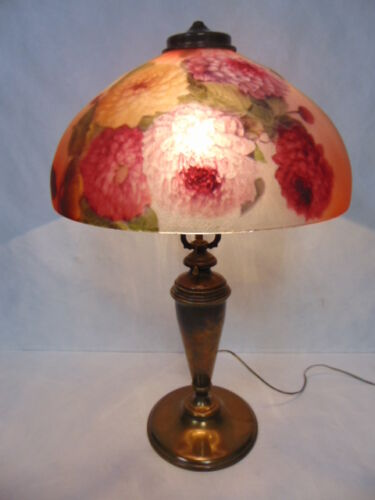 ANTIQUE PITTSBURGH REVERSE PAINTED FLORAL GLASS LAMP