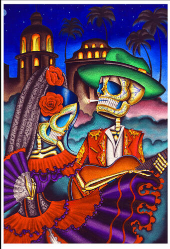 Dark Desert Highway by Dave Sanchez Fine Art Print Day of  the Dead Sugar Skull