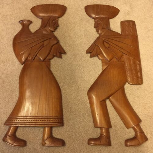 PAIR OF MID CENTURY MODERN Wood WALL PLAQUES Carved - ONE MAN ONE WOMAN 27 High