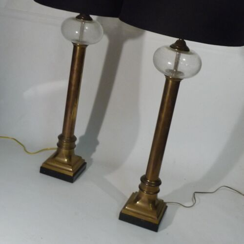 PR Chapman  Signed  Brass Marble Art Glass Classic Column Table Lamps 1980s