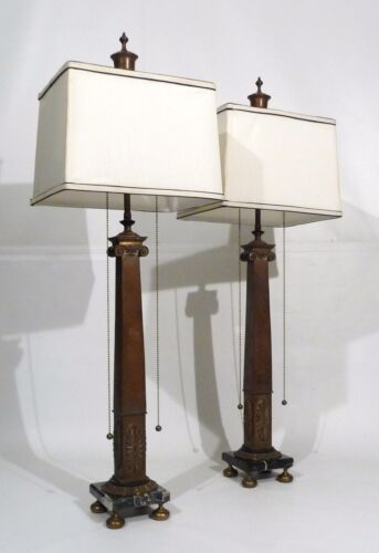 PR EDWARDIAN BRASS COLUMN XL REGENCY ARCHITECTURAL ANTIQUE TABLE LAMPS W/ SHADES