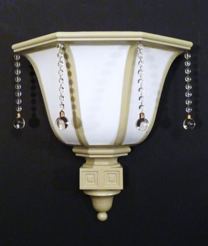 XL ART DECO VINTAGE MILK GLASS THEATER SCONCE GLASS DROPS RESTORED 1930s