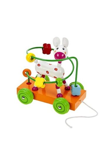 Baby Toddler Pull Along Wooden Toy Dog Bead Maze Boys Girls Quality Traditional
