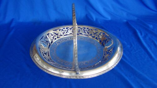 ANTIQUE MAPPIN SILVERPLATE PIERCED BASKET WITH HANDLE MAPPIN & WEBB