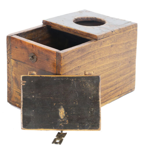 Antique Chinese Asian Small Wood Money Chest Bank Lock Box