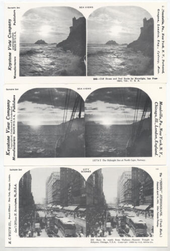 STEREOVIEWS, LITHOGRAPHS, SEA VIEWS, CITY SCENE, SET OF 3.