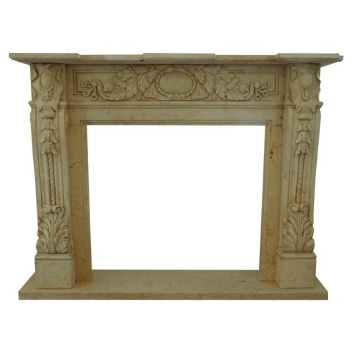 Camino Stile Impero Classico in Travertino Stone Travertine Marble Old Fireplace