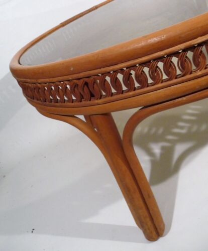 Vintage Mid Century Hollywood Regency Bent/Woven Bamboo Rattan Cane Coffee Table