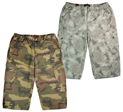 Mens 3 4 Shorts Army Camouflage Camo 3 Quarter Trouser  Cargo Combat Pockets 2XL