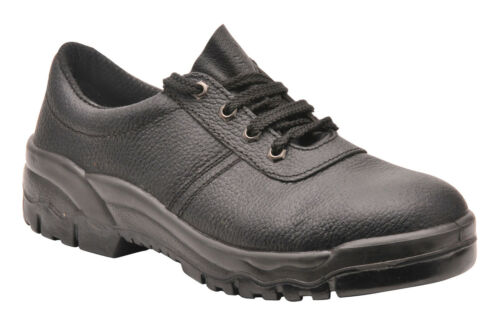 Safety Shoe Work Leather Black Steel Toe Footwear Mens Portwest 5-18, NEW FW14