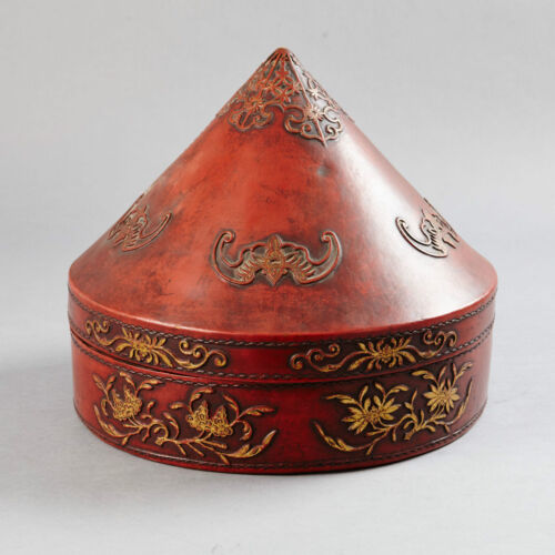 ANTIQUE CHINESE CHINA OFFICER COURT MANDARIN QING HAT BOX LACQUER LEATHER 1900