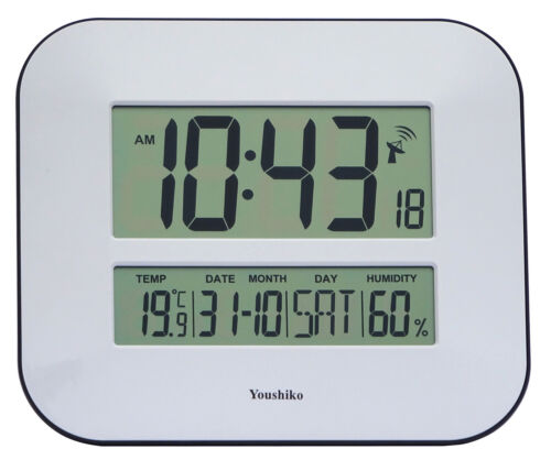 Jumbo LCD Radio Controlled Wall Clock with Temperature  and Humidity display <br/> MSF  RADIO CONTROLLED UK VERSION,    UK WARRENTY