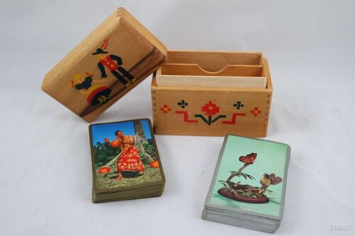 Double Set of Vintage Playing Cards in Hand Crafted Wooden Painted Box