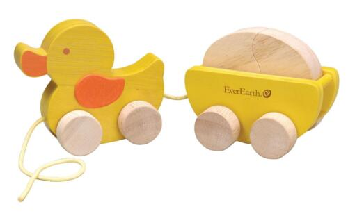 NEW Childrens Wooden Pull Along Duck and Egg - Baby Pull Toy