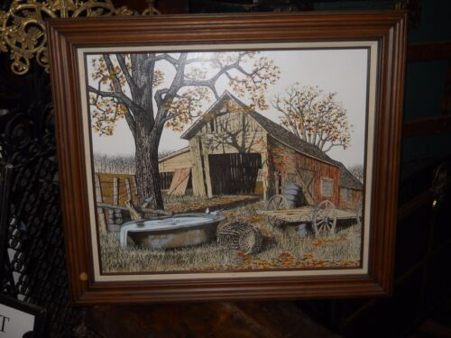 H.Hargrove Print on Canvas - Old Barn In Fall - Folk Art Paintings.