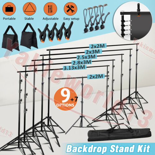Photography Studio Heavy Duty Backdrop Stand Screen Background Support Stand Kit <br/> NEWLY BATCH❤Adjustable❤Aluminum Alloy❤UPGRADED❤2019 HOT