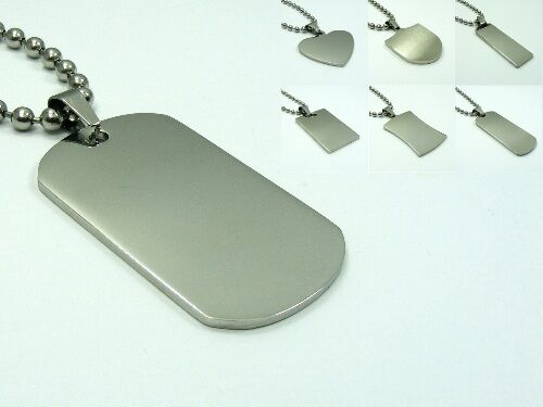 STAINLESS STEEL Smooth Military PLAIN Dog Tag PENDANT 3mm BALL Chain NECKLACE