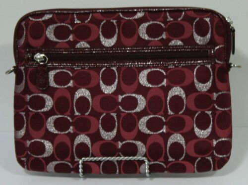 """Coach 10"""" Tablet Case with Handbag Strap - Silver Signature on Red"""