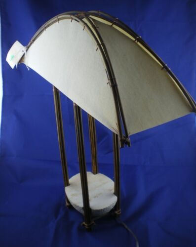 Muriel Garderet Signed Canvas Table Lamp Stone Bamboo Barichara, Columbia 1997