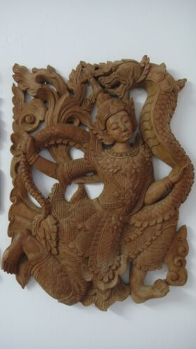 CHINESE BURMESE DANCER DRAGON STATUE HAND CARVED WOOD SEE ALSO THE OTHER ONE