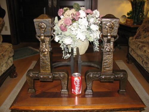 Massive Antique Arts Crafts Mission Andirons Cast Iron - Hammered Copper Look