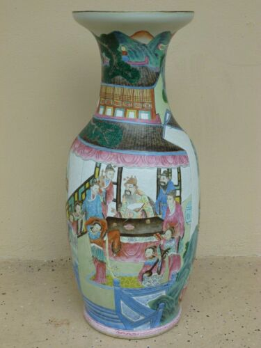 """STUNNING LARGE 24.5 """" 19TH C CHINESE FAMILLE ROSE VASE WITH GOOD DECORATION"""