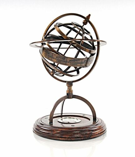 Creek Style Brass Armillary With Compass On Wood Base