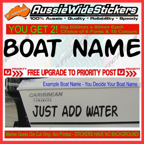 CUSTOM 15cm high BOAT REGISTRATION numbers /& 45cm long BOAT NAMES decal sticker