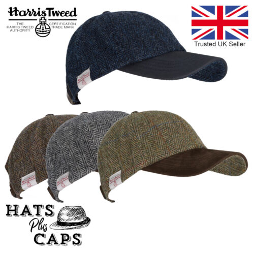 Genuine Harris Tweed 100% Wool Baseball Cap Leather Peaked Hat <br/> Adjustable headband comfortably fits size 56cm-61cm